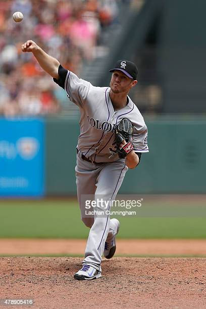 Kyle Kendrick of the Colorado Rockies pitches in the fifth inning against the San Francisco Giants at AT&T Park on June 28, 2015 in San Francisco,...