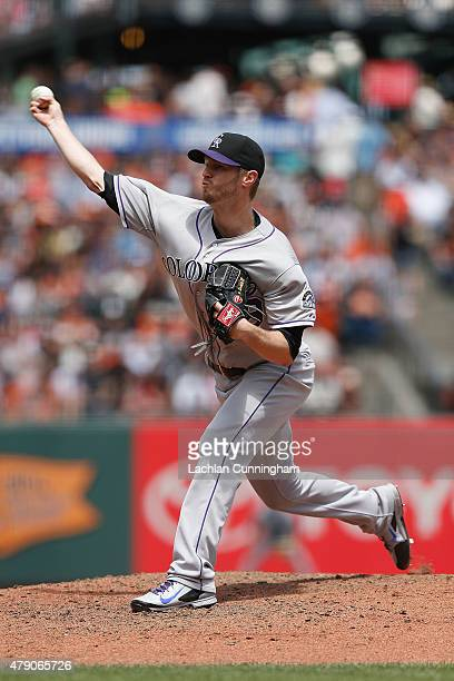Kyle Kendrick of the Colorado Rockies pitches in the fourth inning against the San Francisco Giants at AT&T Park on June 28, 2015 in San Francisco,...