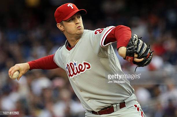 Kyle Kendrick of the Philadelphia Phillies delivers a pitch against the New York Yankees on June 17, 2010 at Yankee Stadium in the Bronx borough of...