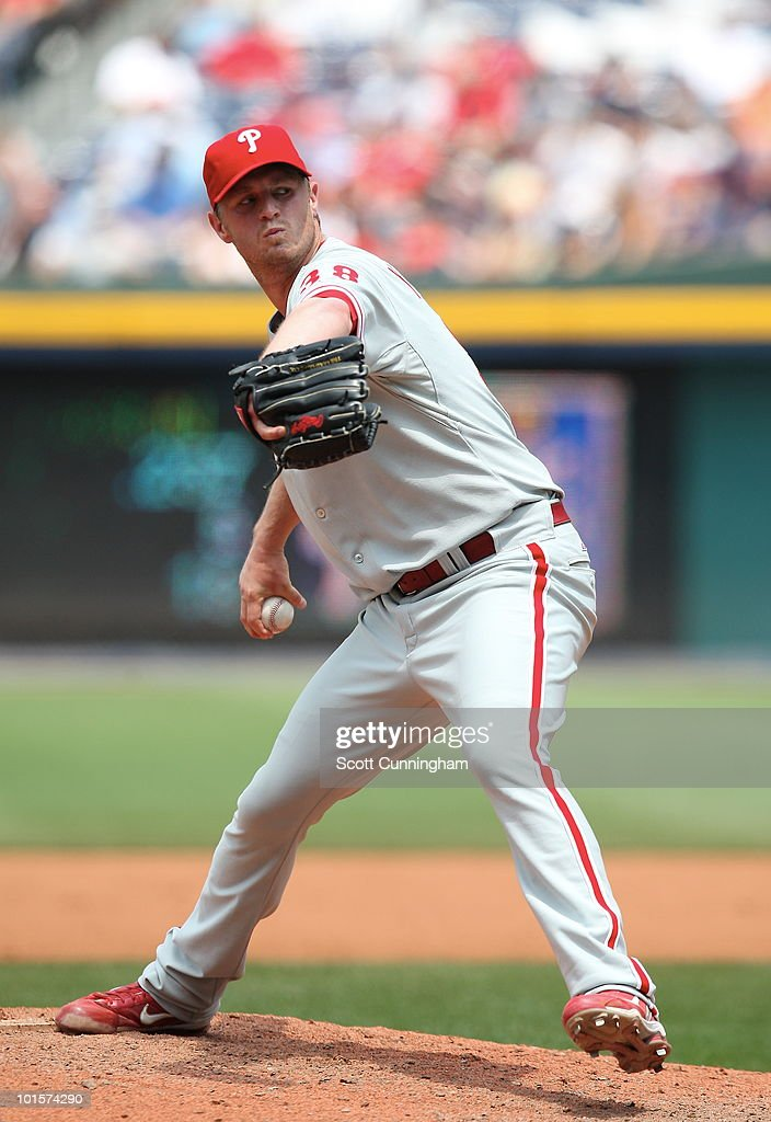 Kyle Kendrick #38 of the Philadelphia Phillies pitches against the Atlanta Braves at Turner Field on June 2, 2010 in Atlanta, Georgia. The Braves defeated the Phillies 2-1.