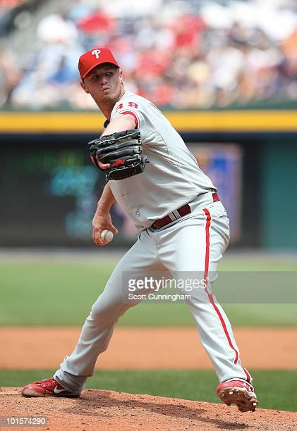 Kyle Kendrick of the Philadelphia Phillies pitches against the Atlanta Braves at Turner Field on June 2 2010 in Atlanta Georgia The Braves defeated...