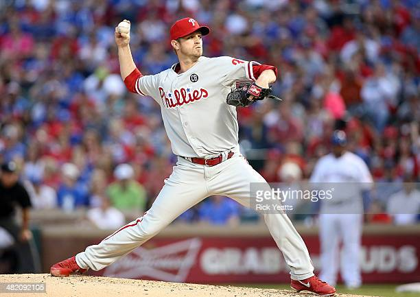 Kyle Kendrick of the Philadelphia Phillies pitches in the first inning against the Texas Rangers at Globe Life Park in Arlington on April 2, 2014 in...