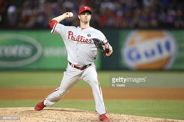 Kyle Kendrick of the Philadelphia Phillies throws in the fifth inning against the Texas Rangers at Globe Life Park in Arlington on April 2, 2014 in...
