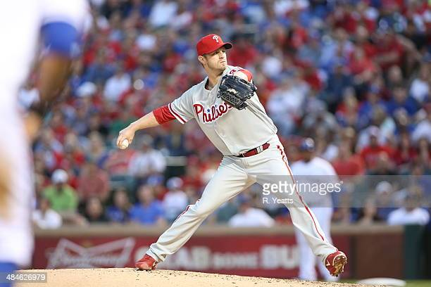 Kyle Kendrick of the Philadelphia Phillies throws in the first inning against the Texas Rangers at Globe Life Park in Arlington on April 2, 2014 in...
