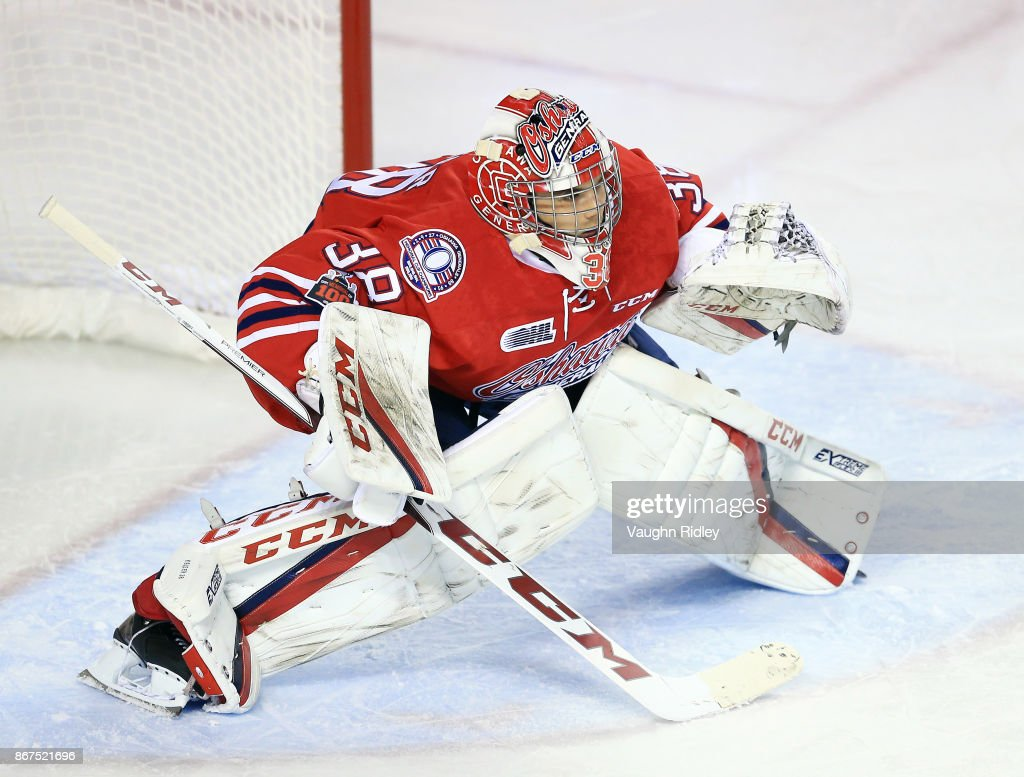 Kyle Keyser #38 of the Oshawa Generals watches the puck during an OHL game against the Niagara IceDogs at the Meridian Centre on October 26, 2017 in St Catharines, Ontario, Canada.