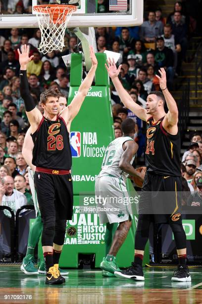 Kyle Korver and Larry Nance Jr #24 of the Cleveland Cavaliers react during the game against the Boston Celtics on February 11 2018 at the TD Garden...