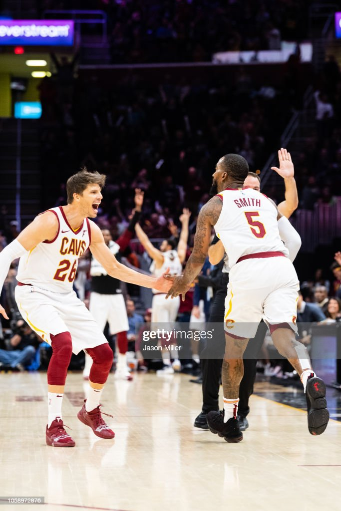 promo code 8c152 16ea8 Kyle Korver celebrates with JR Smith of the Cleveland ...