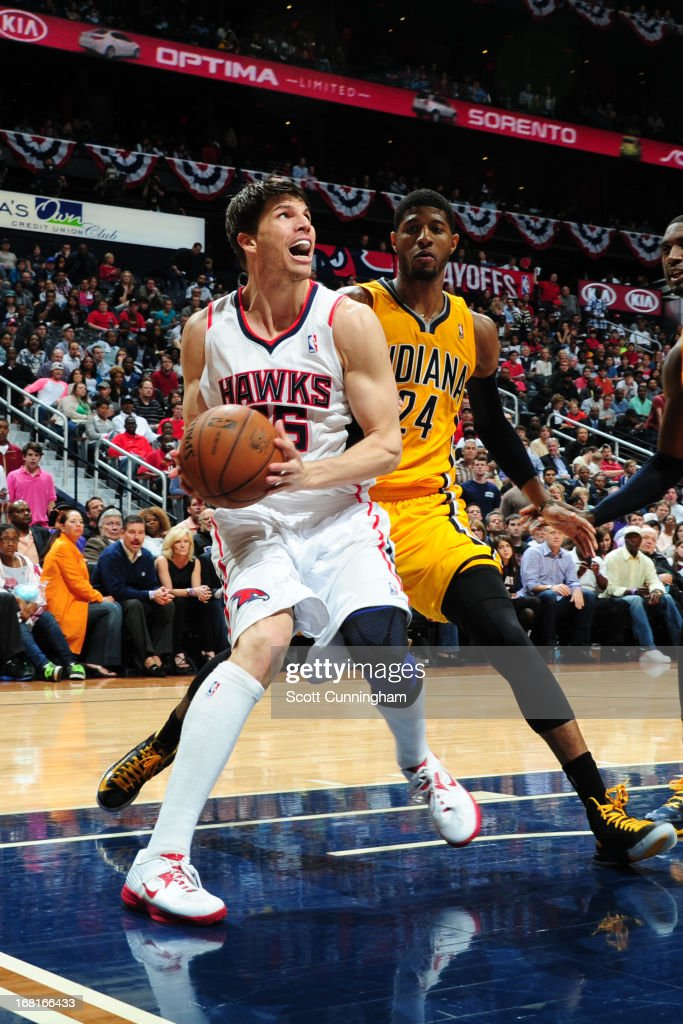Kyle Korver #26 of the Atlanta Hawks drives to the basket against the Indiana Pacers during Game Six of the Eastern Conference Quarterfinals in the 2013 NBA Playoffs on May 3, 2013 at Philips Arena in Atlanta, Georgia.