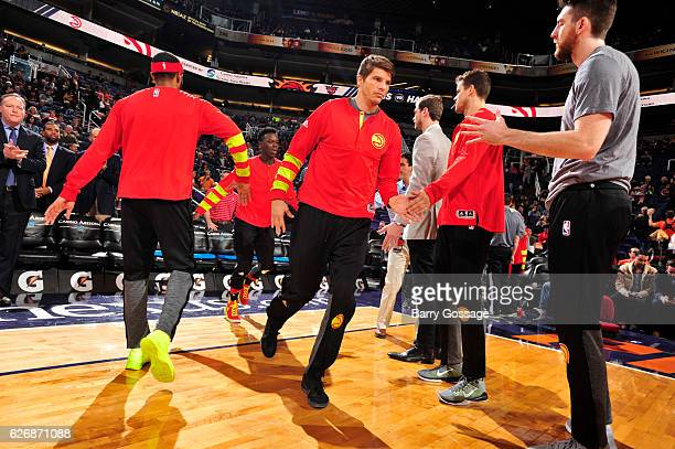 Kyle Korver of the Atlanta Hawks is introduced before a game against the Phoenix Suns on November 30 2016 at Talking Stick Resort Arena in Phoenix...