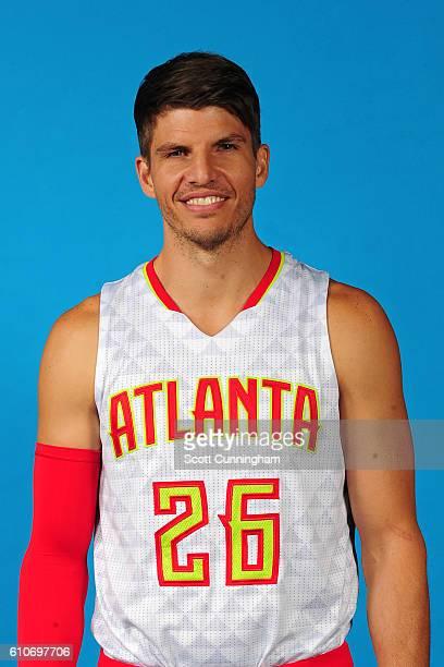 Kyle Korver of the Atlanta Hawks poses for a portrait during 20162017 Atlanta Hawks Media Day at Phillips Arena on September 26 2016 in Atlanta...