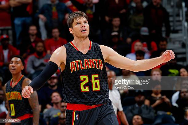 Kyle Korver of the Atlanta Hawks reacts after committing his fourth foul against the Detroit Pistons at Philips Arena on October 27 2015 in Atlanta...