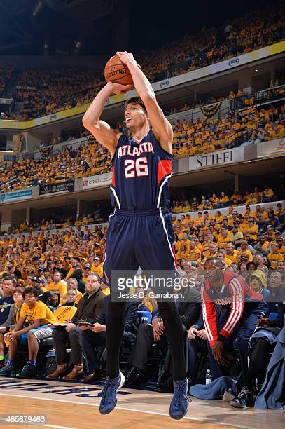 Kyle Korver of the Atlanta Hawks shoots the ball against the Indiana Pacers in Game One of the Eastern Conference Quarterfinals during the 2014 NBA...