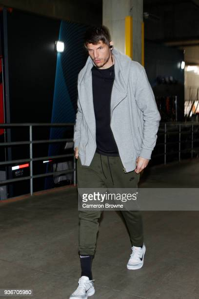 Kyle Korver of the Cleveland Cavaliers arrives before the game against the Portland Trail Blazers on March 15 2018 at the Moda Center in Portland...