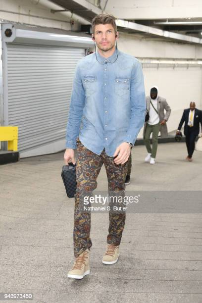 Kyle Korver of the Cleveland Cavaliers arrives before the game against the New York Knicks on April 9 2018 at Madison Square Garden in New York City...