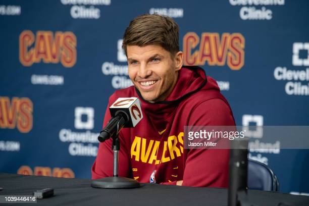 Kyle Korver of the Cleveland Cavaliers does an interview on Media Day at Cleveland Clinic Courts on September 24 2018 in Independence Ohio NOTE TO...
