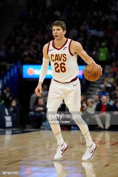Kyle Korver of the Cleveland Cavaliers dribbles the ball against the Minnesota Timberwolves during the game on January 8 2018 at the Target Center in...