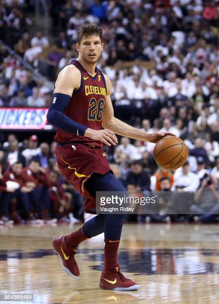 Kyle Korver of the Cleveland Cavaliers dribbles the ball in the second half of Game One of the Eastern Conference Semifinals against the Toronto...