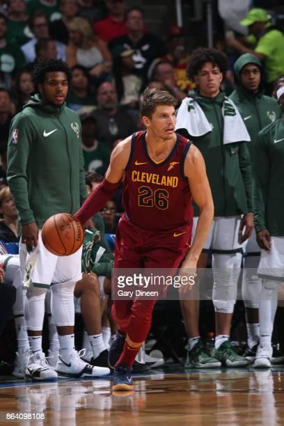 Kyle Korver of the Cleveland Cavaliers handles the ball against the Milwaukee Bucks on October 20 2017 at the BMO Harris Bradley Center in Milwaukee...