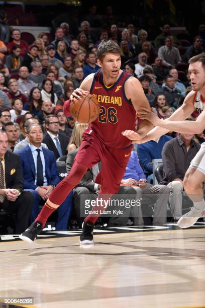 Kyle Korver of the Cleveland Cavaliers handles the ball against the Portland Trail Blazers on January 2 2018 at Quicken Loans Arena in Cleveland Ohio...
