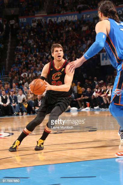 Kyle Korver of the Cleveland Cavaliers handles the ball against the Oklahoma City Thunder on February 13 2018 at Chesapeake Energy Arena in Oklahoma...