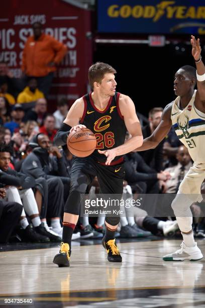 Kyle Korver of the Cleveland Cavaliers handles the ball against the Milwaukee Bucks on March 19 2018 at Quicken Loans Arena in Cleveland Ohio NOTE TO...