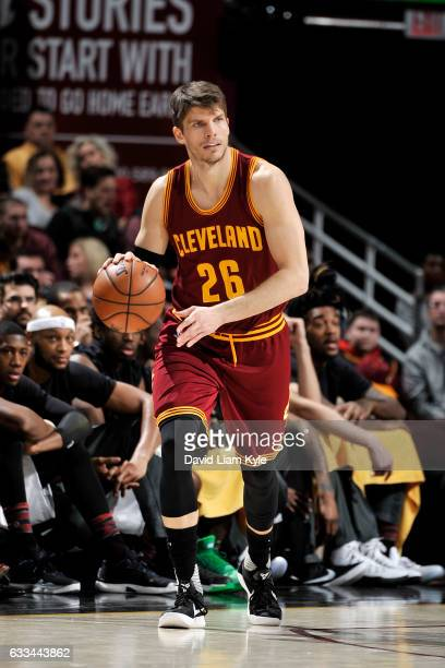 Kyle Korver of the Cleveland Cavaliers handles the ball during the game against the Minnesota Timberwolves on February 1 2017 at Quicken Loans Arena...