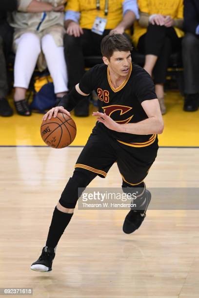 Kyle Korver of the Cleveland Cavaliers handles the ball on offense against the Golden State Warriors during the second half of Game 2 of the 2017 NBA...