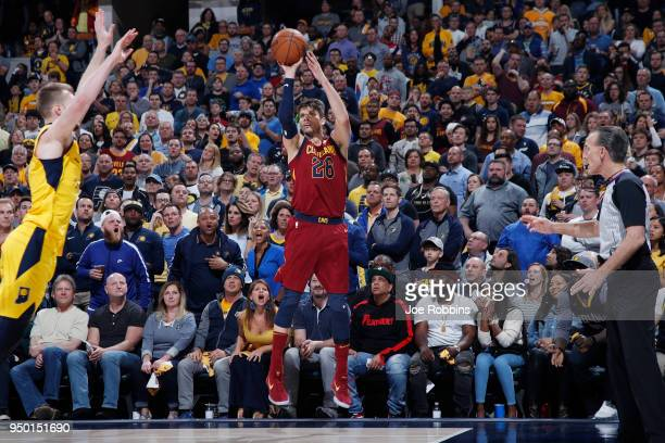 Kyle Korver of the Cleveland Cavaliers hits a threepoint basket against the Indiana Pacers in the second half of game four of the NBA Playoffs at...