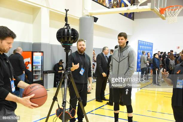 Kyle Korver of the Cleveland Cavaliers is interviewed in VR during practice and media availability as part of the 2017 NBA Finals on June 11 2017 at...