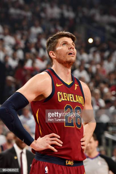 Kyle Korver of the Cleveland Cavaliers looks on against the Toronto Raptors in Game Two of Round Two of the 2018 NBA Playoffs on May 3 2018 at the...