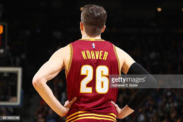 Kyle Korver of the Cleveland Cavaliers looks on during the game against the Golden State Warriors on January 16 2017 at ORACLE Arena in Oakland...