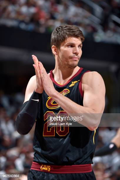 Kyle Korver of the Cleveland Cavaliers looks on during the game against the Boston Celtics in Game Six of the Eastern Conference Finals of the 2018...