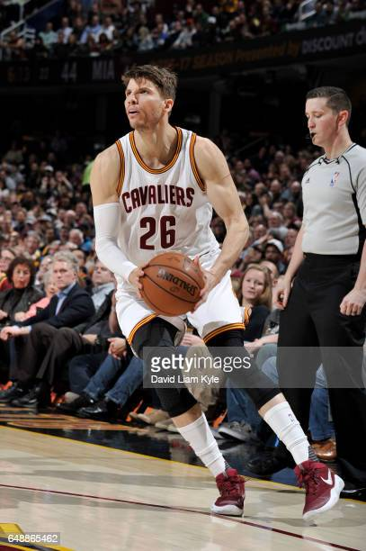 Kyle Korver of the Cleveland Cavaliers looks to shoot the ball during a game against the Miami Heat on March 6 2017 at Quicken Loans Arena in...