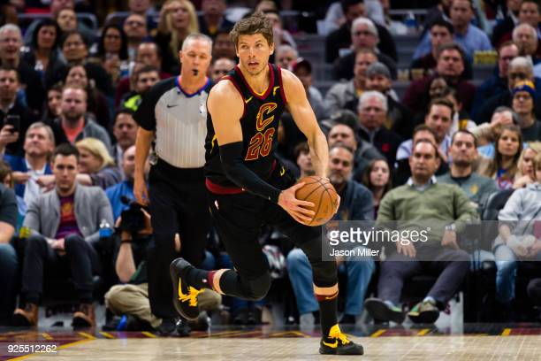 Kyle Korver of the Cleveland Cavaliers moves the ball down court during the second half against the Washington Wizards at Quicken Loans Arena on...