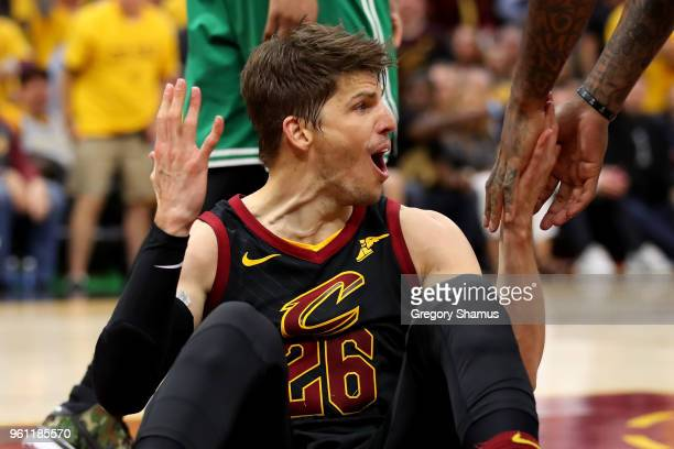 Kyle Korver of the Cleveland Cavaliers reacts after a foul is called in the fourth quarter against the Boston Celtics during Game Four of the 2018...