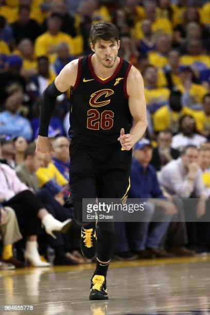 Kyle Korver of the Cleveland Cavaliers reacts against the Golden State Warriors in Game 1 of the 2018 NBA Finals at ORACLE Arena on May 31 2018 in...