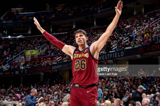 Kyle Korver of the Cleveland Cavaliers reacts against the Indiana Pacers on October 27 2018 at Quicken Loans Arena in Cleveland Ohio NOTE TO USER...
