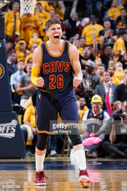 Kyle Korver of the Cleveland Cavaliers reacts in the fourth quarter of Game Five of the Eastern Conference First Round during the 2017 NHL Stanley...