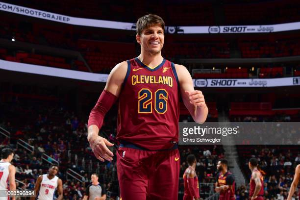 Kyle Korver of the Cleveland Cavaliers reacts to a play during the game against the Detroit Pistons on November 19 2018 at Little Caesars Arena in...