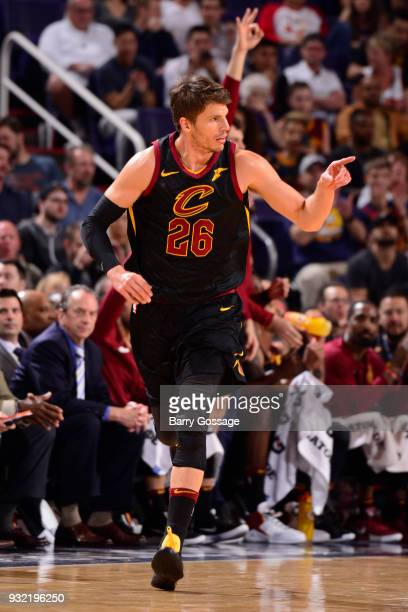 Kyle Korver of the Cleveland Cavaliers runs on the court against the Phoenix Suns on March 13 2018 at Talking Stick Resort Arena in Phoenix Arizona...