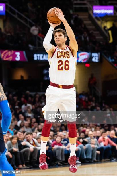 Kyle Korver of the Cleveland Cavaliers shoots a three during the second half against the Oklahoma City Thunder at Quicken Loans Arena on November 7...