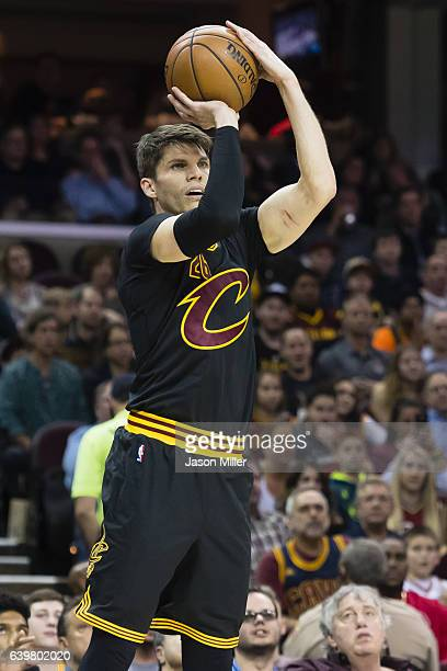Kyle Korver of the Cleveland Cavaliers shoots during the first half against the San Antonio Spurs at Quicken Loans Arena on January 21 2017 in...