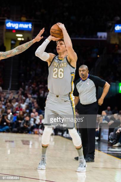 Kyle Korver of the Cleveland Cavaliers shoots during the second half against the Houston Rockets at Quicken Loans Arena on February 3 2018 in...