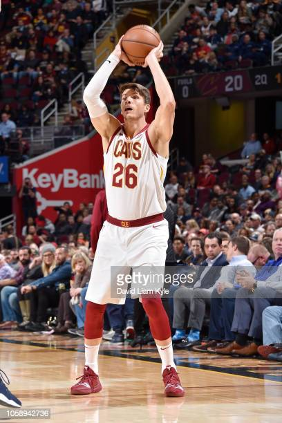 Kyle Korver of the Cleveland Cavaliers shoots the ball against the Oklahoma City Thunder on November 7 2018 at Quicken Loans Arena in Cleveland Ohio...