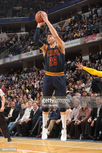 Kyle Korver of the Cleveland Cavaliers shoots the ball against the Indiana Pacersp on February 8 2017 at Bankers Life Fieldhouse in Indianapolis...
