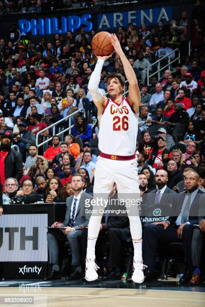 Kyle Korver of the Cleveland Cavaliers shoots the ball against the Atlanta Hawks on November 30 2017 at Philips Arena in Atlanta Georgia NOTE TO USER...