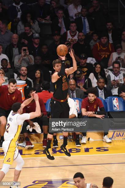 Kyle Korver of the Cleveland Cavaliers shoots the ball against the Los Angeles Lakers on March 11 2018 at STAPLES Center in Los Angeles California...