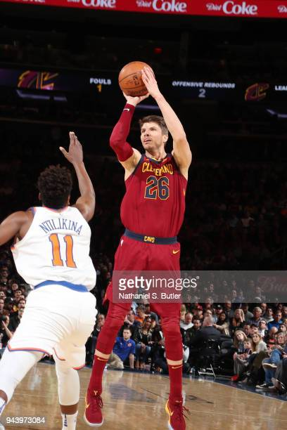 Kyle Korver of the Cleveland Cavaliers shoots the ball against the New York Knicks on April 9 2018 at Madison Square Garden in New York City New York...