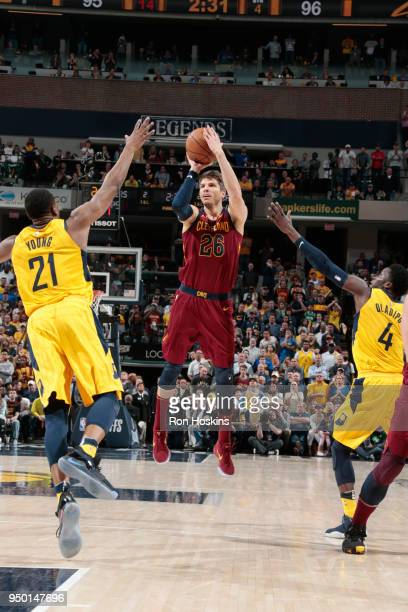Kyle Korver of the Cleveland Cavaliers shoots the ball against the Indiana Pacers in Game Four of Round One of the 2018 NBA Playoffs on April 22 2018...
