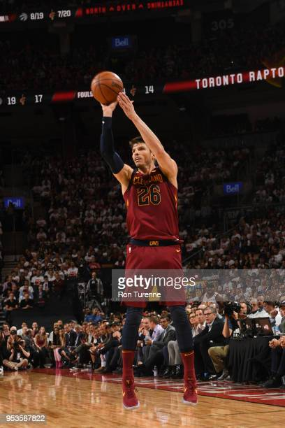 Kyle Korver of the Cleveland Cavaliers shoots the ball against the Toronto Raptors in Game One of Round Two of the 2018 NBA Playoffs on May 1 2018 at...